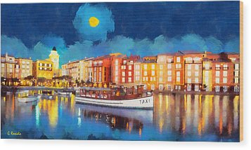 Portofino By Night Wood Print by George Rossidis