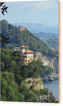 Portofino Coastline Wood Print by Carla Parris