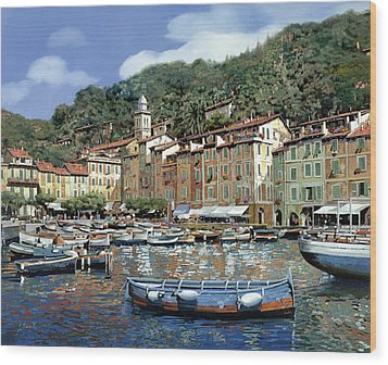Portofino Wood Print by Guido Borelli