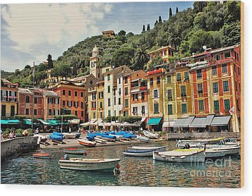 Portofino Harbor 2 Wood Print