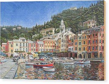 Portofino Italy Wood Print by Mike Rabe