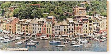 Portofino Panorama Wood Print
