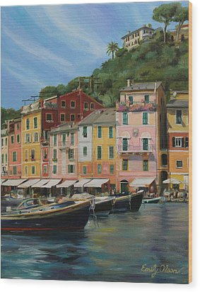 Portofino Summer Wood Print by Emily Olson