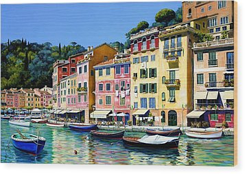 Portofino Sunshine Sold Wood Print by Michael Swanson