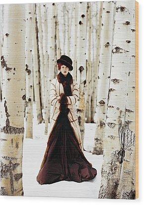 Karen Elson Models Gaultier Wood Print by Arthur Elgort