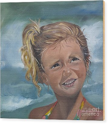 Wood Print featuring the painting Portrait - Emma - Beach by Jan Dappen