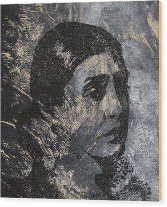 Portrait Monoprint Wood Print by Rachel Hames