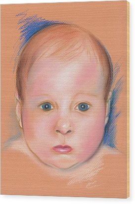 Wood Print featuring the pastel Portrait Of A Baby by MM Anderson