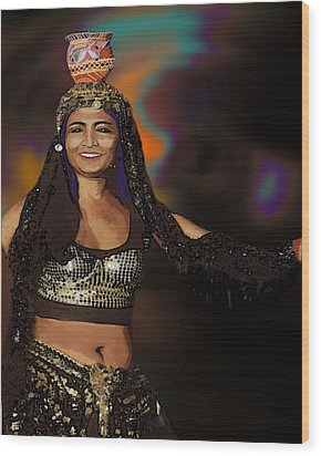 Portrait Of A Belly Dancer Wood Print