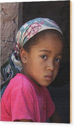 Portrait Of A Berber Girl Wood Print by Ralph A  Ledergerber-Photography