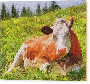 Portrait Of A Cow 2 Wood Print