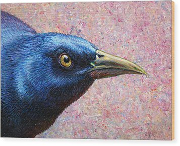 Portrait Of A Grackle Wood Print by James W Johnson