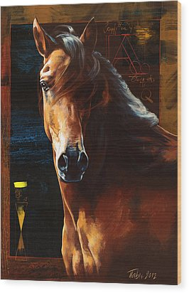Portrait Of A Horse Wood Print by Dragan Petrovic Pavle