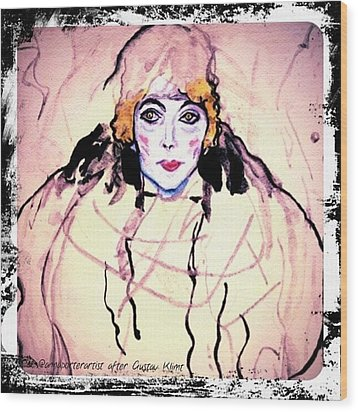 Portrait Of A Lady En Face After Gustav Klimt Wood Print by Anna Porter
