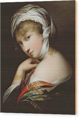 Portrait Of A Lady In Eastern Dress Wood Print by English School