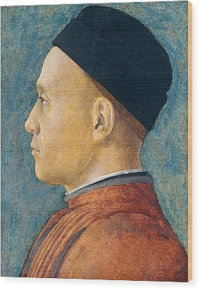 Portrait Of A Man Wood Print by Andrea Mantegna