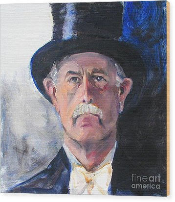 Wood Print featuring the painting Portrait Of A Man In Top Hat by Greta Corens