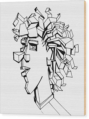 Portrait Of A Man Wood Print by Michelle Calkins