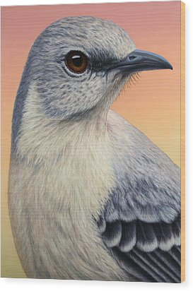 Portrait Of A Mockingbird Wood Print by James W Johnson
