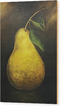 Portrait Of A Pear Wood Print by Terri  Meyer