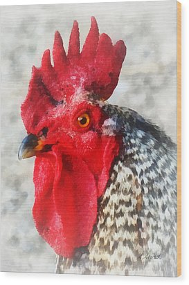 Portrait Of A Rooster Wood Print by Susan Savad