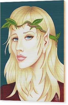 Portrait Of A She Elf Wood Print by Danielle R T Haney