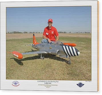 Portrait Of A Shooting Star - Jeff Lovitt And His Lockheed T-33 Wood Print by Ken Young