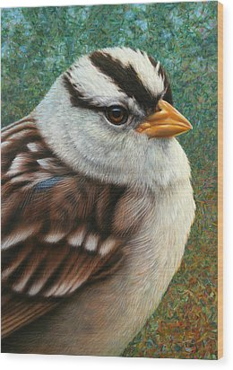 Portrait Of A Sparrow Wood Print by James W Johnson