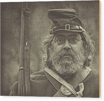 Portrait Of A Union Soldier Wood Print by Pat Abbott
