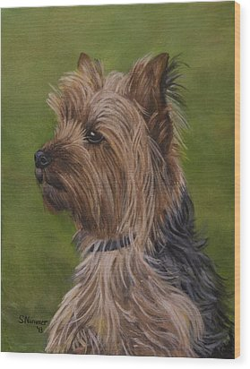 Portrait Of A Yorkie Wood Print
