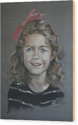Portrait Of A Young Girl Wood Print by Mary Machare