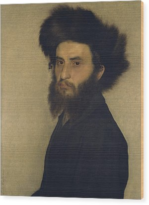 Portrait Of A Young Jewish Man  Wood Print by Isidor Kaufmann