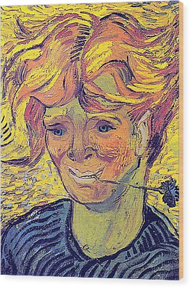 Portrait Of A Young Man With Cornflower Wood Print by Vincent Van Gogh