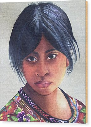 Portrait Of A Young Mayan Girl Wood Print