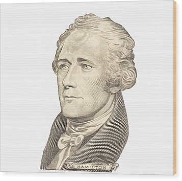 Portrait Of Alexander Hamilton On White Background Wood Print