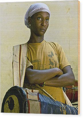 Portrait Of An Afro-cuban Drummer Wood Print by Ann Tracy