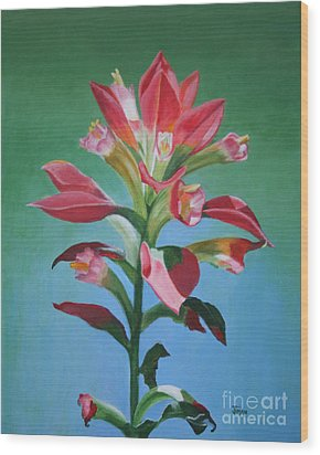 Wood Print featuring the painting Portrait Of An Indian Paintbrush by Jimmie Bartlett