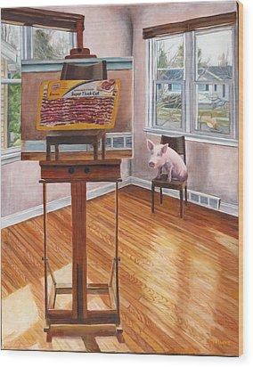 Portrait Of Bacon Wood Print