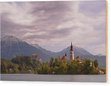 Wood Print featuring the photograph Portrait Of Bled Slovenia by Graham Hawcroft pixsellpix