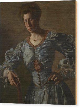 Portrait Of Elizabeth L Burton Wood Print by Thomas Cowperthwait Eakins