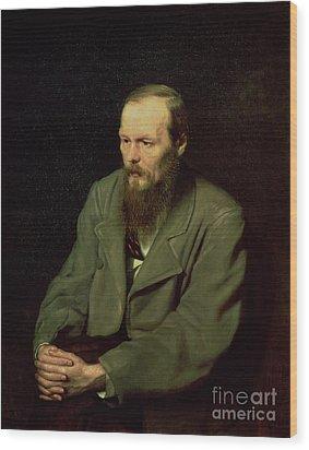 Portrait Of Fyodor Dostoyevsky Wood Print by Vasili Grigorevich Perov