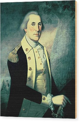 Portrait Of George Washington Wood Print by James the Elder Peale