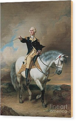 Portrait Of George Washington Taking The Salute At Trenton Wood Print by John Faed