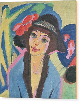 Portrait Of Gerda Wood Print by Ernst Ludwig Kirchner