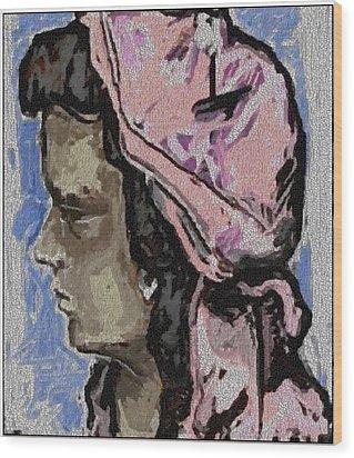 Portrait Of Girl Pog1 Wood Print by Pemaro