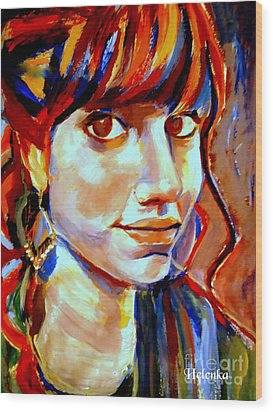 Portrait Of Ivana Wood Print by Helena Wierzbicki
