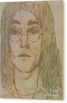 Portrait Of John Lennon Wood Print by Joan-Violet Stretch