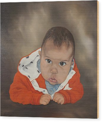 Wood Print featuring the painting Portrait Of Joshua by Jean Walker
