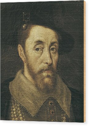 Portrait Of King James I. 17th C Wood Print by Everett