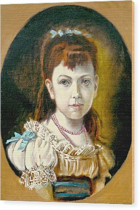 Wood Print featuring the painting Portrait Of Little Girl by Henryk Gorecki
